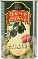 Характеристрики и размер товара Оливки Maestro de Oliva с миндалем, 330 г