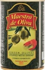 Характеристрики и размер товара Оливки Maestro de Oliva с креветкой, 300 г