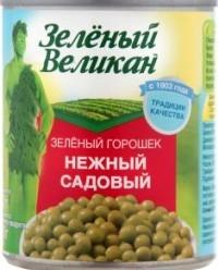Характеристрики и размер товара Консервированный горошек Зеленый великан зеленый нежный садовый, 240 г