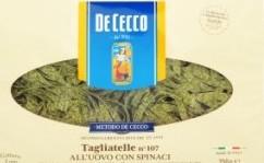 Характеристрики и размер товара Макароны De Cecco Tagliatelle №107 All'uovo con Spinaci, 250 г