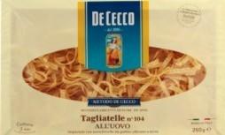 Характеристрики и размер товара Макаронные изделия De Cecco Tagliatelle №104 яичные из твердых сортов пшеницы, 250 г