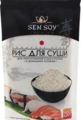Характеристрики и размер товара Рис для суши Premium Sen soy м/у 250г