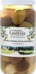 Характеристрики и размер товара Консервы Sebastian Guerola Коктейль оливки лучок корнишоны, 370 г