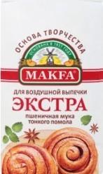 Характеристрики и размер товара Мука Makfa Экстра пшеничная тонкого помола, 2 кг