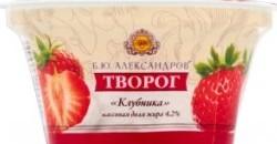 Характеристрики и размер товара Творог Б.Ю.Александров Клубника 4.2%, 150 г