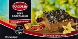 Характеристрики и размер товара Торт Кладезь Ореховый вафельный глазированный на фруктозе, 160 г