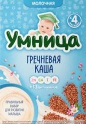 Характеристрики и размер товара Каша молочная для детей от 4мес Гречневая Умница к/у 200г