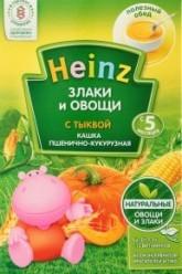Характеристрики и размер товара Каша для детей Heinz безмолочная злаки и овощи пшенично-кукурузная с тыквой от 5 месяцев, 200 г
