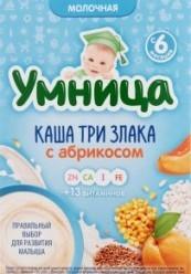 Характеристрики и размер товара Каша для детей Умница Три злака с абрикосом молочная от 6 месяцев, 200 г