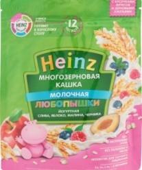 Характеристрики и размер товара Каша для детей Heinz Любопышки молочная многозерновая йогуртная слива яблоко малина черника от 12 месяцев, 200 г