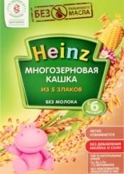 Характеристрики и размер товара Каша для детей Heinz Многозерновая кашка из 5 злаков без молока от 6 месяцев, 200 г