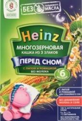 Характеристрики и размер товара Каша для детей Heinz Перед сном без молока многозерновая из 3 злаков с липой и ромашкой от 6 месяцев, 200 г