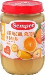 Характеристрики и размер товара Пюре Semper Апельсин яблоко банан для детей с 6 месяцев 0,19кг