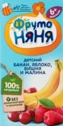 Характеристрики и размер товара Нектар для детей Банан-Яблоко-Вишня-Малина ФрутоНяня т/п 0.2л