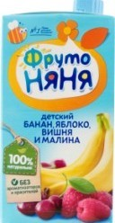 Характеристрики и размер товара Нектар для детей ФрутоНяня Банан-яблоко-вишня-малина от 6 месяцев, 500 мл