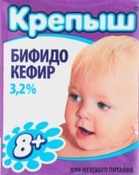 Характеристрики и размер товара Бифидокефир 3.2% для детей от 8мес Крепыш т/п 200г