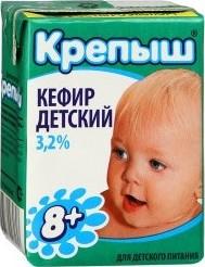 Характеристрики и размер товара Кефир Крепыш с 8 месяцев 3,2% 0,2кг