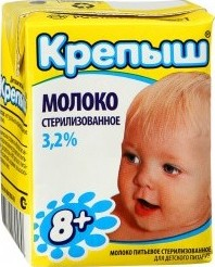Характеристрики и размер товара Молоко Крепыш стерилизованное с 8 месяцев 3,2% 0,2л