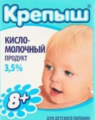 Характеристрики и размер товара Продукт кисломолочный Крепыш детский от 8 месяцев 3.5%, 200 г