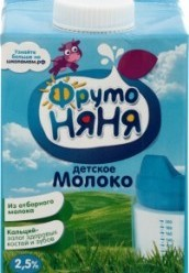 Характеристрики и размер товара Молоко для детей ФрутоНяня ультрапастеризованное 2.5% от 3 лет, 500 мл