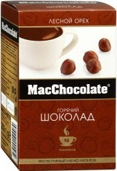 Характеристрики и размер товара Какао-напиток MacChocolate горячий шоколад с ароматом лесных орехов 10*20г