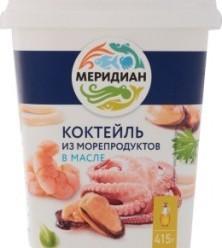 Характеристрики и размер товара Пресервы Меридиан Коктейль из морепродуктов в масле, 415 г