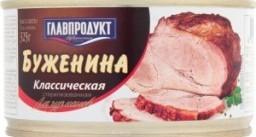 Характеристрики и размер товара Консервы мясные Главпродукт Буженина Классическая, 325 г