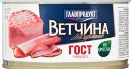 Характеристрики и размер товара Ветчина классическая Главпродукт ж/б 325г