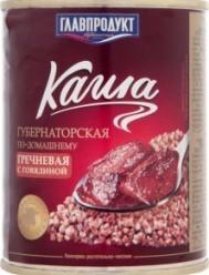 Характеристрики и размер товара Каша гречневая с говядиной Губернаторская по-домашнему Главпродукт ж/б 340г