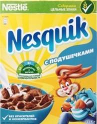 Характеристрики и размер товара Готовый завтрак Nesquik с подушечками шоколадный, 325 г