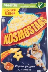 Характеристрики и размер товара Завтраки сухие медовые Звездочки и галактики Коsmostars м/у 225г