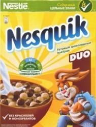 Характеристрики и размер товара Завтраки сухие шоколадные Duo Nesquik к/у 375г