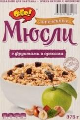 Характеристрики и размер товара Мюсли Ого! запеченные с фруктами и орехами, 375 г