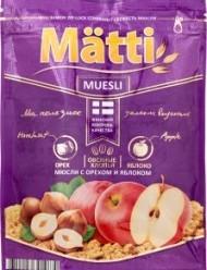 Характеристрики и размер товара Мюсли с орехом и яблоком Matti м/у 250г