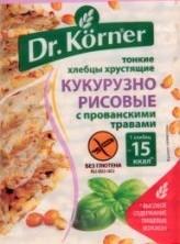 Характеристрики и размер товара Хлебцы Dr.Korner кукурузно-рисовые тонкие с прованскими травами, 100 г