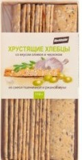 Характеристрики и размер товара Хлебцы Blockbuster хрустящие из смеси пшеничной и ржаной муки со вкусом оливок и чеснока, 110 г