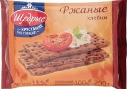 Характеристрики и размер товара Хлебцы Щедрые Ржаные хрустящие настоящие, 200 г