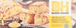 Характеристрики и размер товара Пирог Baker House Kuchen немецкий ванильный бисквитный, 350 г