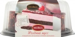 Характеристрики и размер товара Торт Mirel Ягодный мусс из малины и черной смородины, 900 г