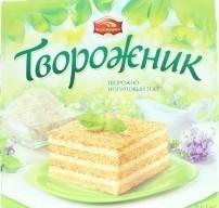 Характеристрики и размер товара Торт творожно-йогуртовый Творожник Черёмушки к/у 0.63кг