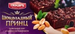 Характеристрики и размер товара Торт Пекарь Шоколадный принц вафельный с арахисом и изюмом, 260 г