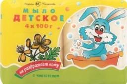Характеристрики и размер товара Мыло Невская косметика Детское туалетное твердое с чистотелом 4шт, упак