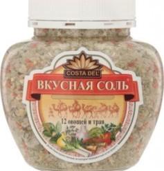 Характеристрики и размер товара Приправа Costa Del Вкусная соль 12 овощей и трав, 400 г