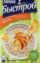 Характеристрики и размер товара Каша овсяная Nestle Быстров персик быстрого приготовления 6пак, упак
