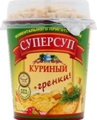 Характеристрики и размер товара Суп быстрого приготовления Суперсуп куриный с гренками, 40 г