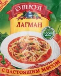 Характеристрики и размер товара Суп быстрого приготовления Суперсуп Лагман с настоящим мясом, 70 г
