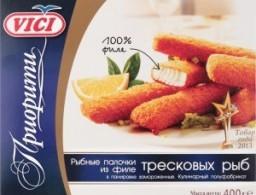 Характеристрики и размер товара Полуфабрикат рыбный Vici Приорити Рыбные палочки из филе тресковых рыб в панировке, 400 г