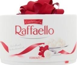 Характеристрики и размер товара Конфеты с цельным миндалем в кокосовой обсыпке Raffaello к/у 100г