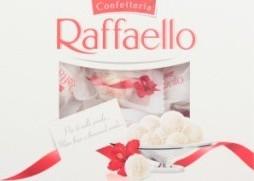 Характеристрики и размер товара Конфеты с цельным миндалем в кокосовой обсыпке Raffaello к/у 240г
