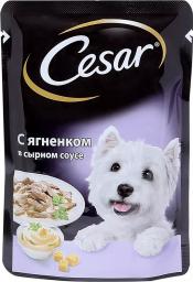 Характеристрики и размер товара Корм для собак Cesar ягненок в сырном соусе 24*100г